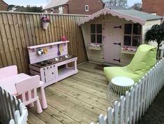 I would have happily spent hours pottering around and playing in this special garden- it even has its own picket fence. In fact I might… Kids Outdoor Play, Outdoor Play Areas, Kids Play Area, Backyard For Kids, Garden Playhouse, Build A Playhouse, Fence Garden, Dog Garden, Play Area Garden