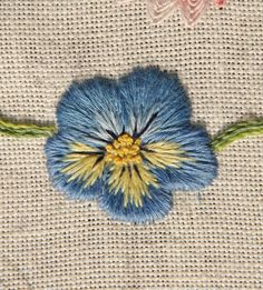 Embroidery Projects The Unbroken Thread - Pansy Hand Embroidery Stitches, Embroidery Patches, Hand Embroidery Designs, Embroidery Techniques, Ribbon Embroidery, Embroidery Thread, Cross Stitch Embroidery, Embroidery Patterns, Machine Embroidery
