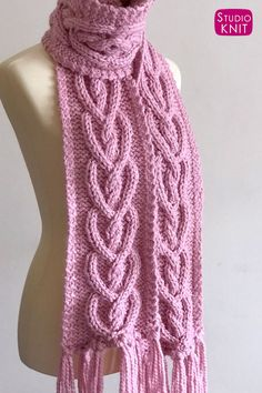My Heart Cable Knit Scarf Pattern is a sweet intermediate level project. Create this beautiful texture of interlocking Celtic hearts for your next gift filled with love. Knitted with super bulky… Cable Knitting, Knitting Blogs, Baby Knitting Patterns, Free Knitting, Scarf Patterns, Knitting Machine, Quick Knits, Finger Knitting, Knitting Accessories