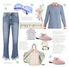 """""""Happy spring"""" by elarmariodelcamaleon ❤ liked on Polyvore featuring Frame, Loewe, Folio, Gucci, Rodial and Clarins"""