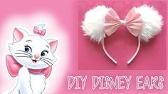 Today I show you how to make your own Disney ears! Mine are inspired by Marie from the Aristocats, because she is a Queen - However you can do any character style you like! Winnie the Pooh ones would look SO cute too :D Materials: Hot Glue Gun Fa. Diy, Cat, Craft,