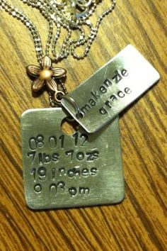 Personalized birth stats hand stamped aluminum  CUSTOM necklace with charm, perfect for a new mom. $19.00, via Etsy.