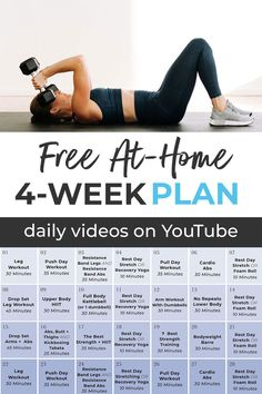 I'm challenging you to 4 weeks of workouts. It's 100% FREE, and it won't be easy, but you'll come out STRONGER and more confident in yourself at the end! I'm coaching you through every minute of these workouts, providing you with motivation and modifications to make this work for all fitness levels. YES YOU CAN! 4 Week Workout Plan, Full Body Workout Plan, Push Workout, Workout Splits, Weekly Workout Plans, Workout Plan For Beginners, Workout Days, Workout Plan For Women, At Home Workout Plan