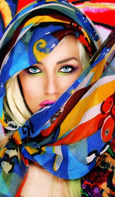 Woman wrapped in a colorful scarf and background. The pict comes from Ellen Zee's website. I Love Colors - Source: Bendrix got this from @Peter James via. http://ellenzee.tumblr.com/post/15296389027