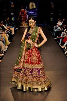 Ritu Kumar bridal lehenga- Modern and totally unique- love it! Ritu Kumar Bridal, Pakistani Bridal, Bridal Lehenga, Indian Dresses, Indian Outfits, Indian Bridal Wear, Indian Wear, Desi Clothes, Indian Clothes