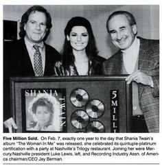 Blurb from Billboard Magazine - March 9, 1996 issue - Shania receives a plaque celebrating The Woman In me selling 5 million copies on the first anniversary of its release. (It's now sold 20 million worldwide.)
