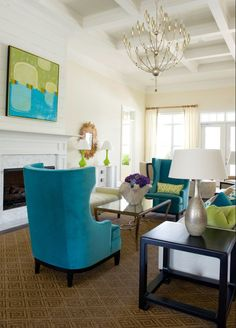 white walls with bright green and teal