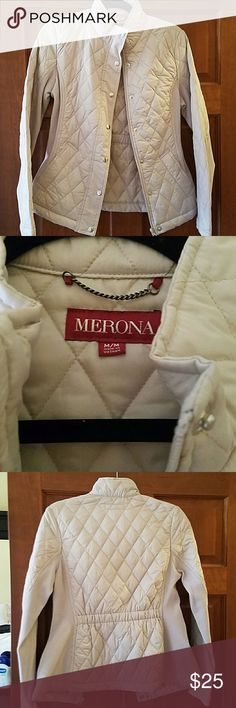 Merona quilted cream jacket Size medium, merona quilted jacket. Fits tts.this has no tags, but I never used it. It's super cute Merona Jackets & Coats