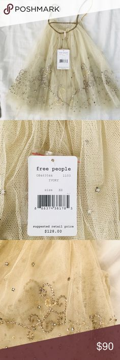 Free People Tulle Top Sale as is as my daughter went inside my closet and try it on playing and messed up one of the strings. 😩  🛍🛍🛍See picture before purchase🛍🛍 Free People Tops