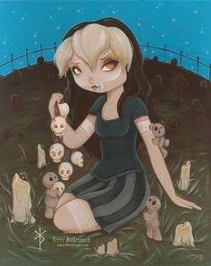 Girl Skull, Macabre Art, Voodoo Dolls, Pop Surrealism, Gothic Art, Big Eyes, Postcard Size, Goth Girls, Illustration Art