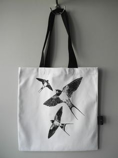 Barn swallows hand screen printed cotton canvas by Waldziograf Printed Tote Bags, Canvas Tote Bags, Barn Swallow, Printed Cotton, Cotton Canvas, Screen Printing, Reusable Tote Bags, Swallows, Ali