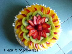 Heart My Bakes Fresh Fruit Delight Fresh Fruit Desserts, Fresh Fruit Cake, Fruit Dishes, Fruit Tart, Köstliche Desserts, Delicious Desserts, Dessert Recipes, Fruit Cakes, Cake Made Of Fruit