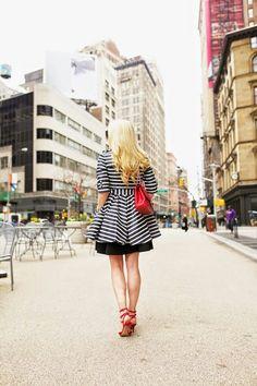 Jacket:REDValentino(also shop here). Dress: Tibi (similar). Shoes:Valentino(also love these pastel colorblocked ones). Bag:Chanel via BellaBag. Sunglasses:Karen Walker 'Super Duper'. Lips:Stila 'Beso'.