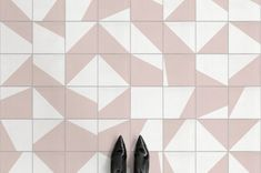 The Plans for Our Tiny Mudroom - Atrafloor Zoe pink cement tile vinyl flooring - Bathroom Vinyl, Kitchen Vinyl, Bathroom Floor Tiles, Bathroom Ideas, Vinyl Flooring Bathroom, Floor Patterns, Tile Patterns, Tile Effect Vinyl Flooring, Tile Flooring