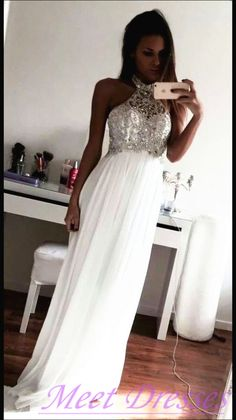 White Evening Dresses Modest A Line High Neck With Silver Beaded Chiffon Long…