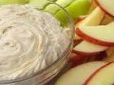 Apple Dip Recipe: 1 pkg cream cheese, 1 c brown sugar, 1/2 c sugar, 2 tsp vanilla. Mix, chill & serve with apples!