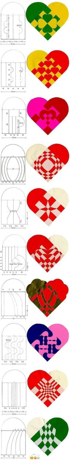 DIY Fabulous Heart Patterns for Paper Weaving projects. I'M thinking valentine's day Kirigami, Valentine Crafts, Holiday Crafts, Valentines, Diy Paper, Paper Art, Paper Crafts, Felt Crafts, Diy Crafts