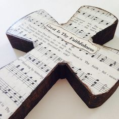 Great Is Thy Faithfulness Wood Wall Hymnal Cross by BeingReMade