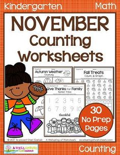 Counting worksheets for Kindergarten. Math pages with counting practice, graphing, color by number, number tracing and more!