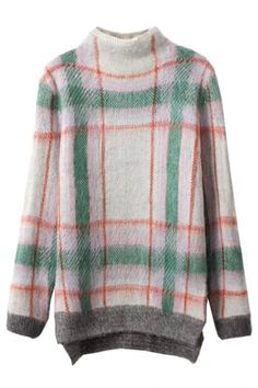 Pastel Plaid Print Bloucle Sweater