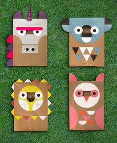 Unicorn, Koala, Lion, Owl. DIY Paper Bag Costumes from Wee Society