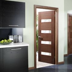 Monaco Walnut Flush Veneer Door with Linea Frosted Glass and Lacquer Pre-Finishing - Lifestyle Image. Wooden Door Design, Wooden Doors, Flush Door Design, Walnut Doors, Veneer Door, Flush Doors, Contemporary Doors, Door Sets, Types Of Doors