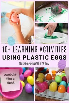 Wondering what to do with all those leftover plastic eggs? Here are 10 Easter ideas that build a variety of skills! Quiet Toddler Activities, Easter Activities, Holiday Activities, Preschool Themes, Indoor Activities, Diy Crafts For Kids Easy, Kids Crafts, Easy Diy, Time Planner
