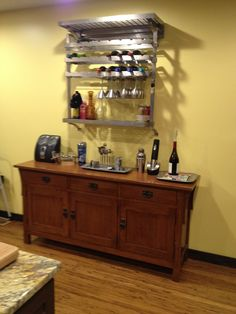 The wine alcohol bar area in the kitchen is up and serving!!!