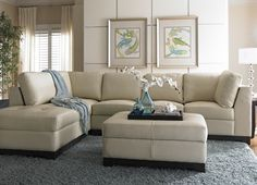 havertys sectional sofa | This cream leather sofa looks light and breezy it could be the main ...