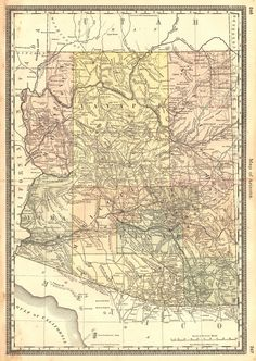 Map of Arizona. H.H. Hardesty, Rand, McNally & Co. Early 1880s Map of Arizona Territory . 1883.  A Rand, McNally map on Mercator projection. From Hardesty's Historical and geographical encyclopedia, illustrated. 246, 247.
