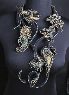 Incredible bead embroidered necklace   Купить Ночные сады Раджастана - черный, сад, индия, восток, пейсли, восточный орнамент