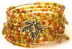 Golden Leaves Mixed Media Memory Coil Bracelet  by StarshineBeads, $36.00