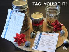 Need ideas for quick and tasty gifts? There's something special about receiving a present straight from a friend's kitchen. Try our favorite granola or spiced pepitas! Once your tasty treats are made and cool, divide into jars and decorate with twine or ribbon. And to make it easy for you, we have designed our own gift tags with recipe included. Just download, print, cut them out and attach to your gift.