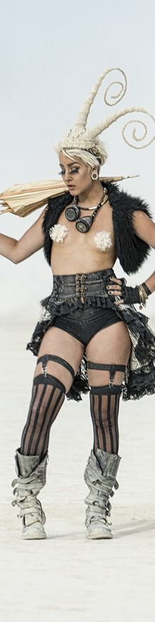 This is a complete outfit. Easy to make the fur vest. The gatter-garters are adorable. Cut off tights or panty hose to get the stockings. Of course the bustle skirt is easy.
