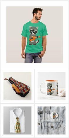 Cute Cartoon Raccoon Playing Guitar Merchandise by Cheerful Madness!! at Zazzle #tshirts #cute #cartoon #raccoon #raccoons #guitar #guitarist #music #musician #kawaii #animation #comics #fun #zazzle #cheerfulmadness #merchandise #apparel #gifts #customizable