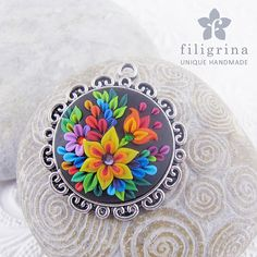 Handmade pendant FOLKLORE with floral motif in silver tone round filigree metal bezel, 33mm, polymer clay filigree applique technique