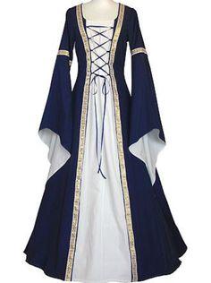 Ruanyu Women Fashion Medieval Dress Lace Up Vintage Floor Length Cosplay Retro Long Dress Renaissance Costume, Medieval Costume, Renaissance Clothing, Medieval Fashion, Victorian Fashion, Old Dresses, Pretty Dresses, Vintage Dresses, Beautiful Dresses
