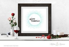 Printable Art Give Thanks Printable quote Wall by MadameLevasseur
