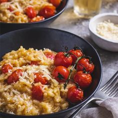 An economical and easy risotto that really delivers a bang for your buck spent. Creamy, tasty and filling. Parmesan Risotto, Tomato Pesto, Sun Dried, Stir Fry, Allrecipes, Fries, Tasty, Meals, Ethnic Recipes