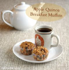 Ricki Heller added cooked quinoa and surprise ingredient to apple muffins to create these good-for-you and just plain good gluten-free Apple Quinoa Muffins. Quinoa Breakfast, Breakfast Muffins, Best Breakfast, Breakfast Recipes, Quinoa Muffins, Apple Muffins, Breakfast Ideas, Sin Gluten, Vegan Gluten Free