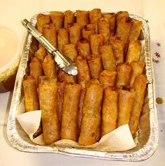 Lumpia - the best lumpia - my bff's. She really makes the best lumpia - and there's lots of meat!