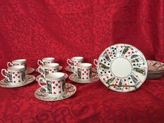 Elizabethan Staffordshire 'Cut for coffee'(card) snack plate, coffee cups,saucer #Staffordshire