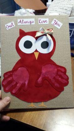 Owl always love you valentine handprint