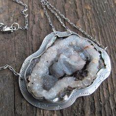 Silver Druzy Necklace Statement Chalcedony Rosette Druzy by artdi