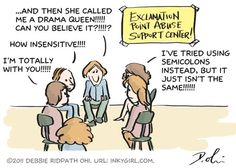 Comic: Exclamation Abuse Support Center - Inkygirl: Guide For Kidlit/YA Writers & Artists - via Writing Humor, Support Center, School Jokes, I Am A Writer, A Writer's Life, Semicolon, English Fun, Lost In Translation, Drama Queens