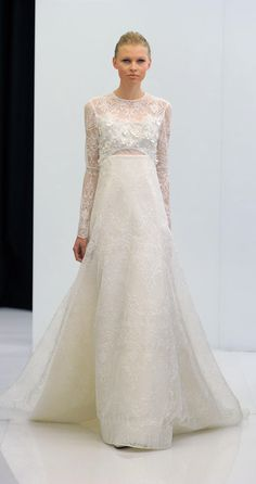Long sleeve wedding gown with lace detailing | Angel Sanchez Spring 2017 | https://www.theknot.com/content/angel-sanchez-wedding-dresses-bridal-fashion-week-spring-2017