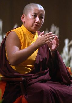 """Jetsün Khandro Rinpoche is a fully trained Rinpoches (""""precious masters"""") in the Tibetan tradition. She was recognized by His Holiness the 16th Gyalwang Karmapa as the reincarnation of the great Dakini of Tshurphu, Khandro Orgyen Tsomo and a respected and revered female master. For the past two decades, Jetsün Khandro Rinpoche has taughter in Europe, North America, and Asia."""