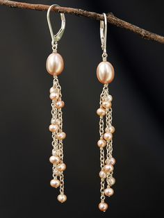 Pink Pearl Multi Dangles design pink Special, Handmade Earrings by Harmony Scott Pearl Jewelry, Wire Jewelry, Beaded Jewelry, Jewellery Uk, Tanishq Jewellery, Jewellery Packaging, Jewellery Stand, Bullet Jewelry, Geek Jewelry