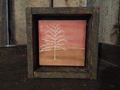 Framed Art - Rustic Decor - Shelf Art - Primitive Art - Amish - Tree Painting - Landscape Painting - Reclaimed Wood Frame - Office Art