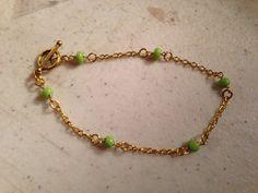 Green Bracelet  Green Jewelry  Chain Jewelry  Gold by cdjali